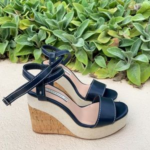 Navy blue wedges with white stitching from Zara